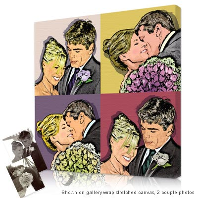 Personalized Pop Art Photo | Warhol style 4 panels - Couples