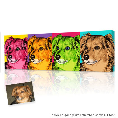 Personalized Pop Art Photo | Warhol style 4 panels horizontal