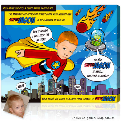Personalized Pop Art Photo | lichStyle 1 face - Kids Superhero - Alien attack