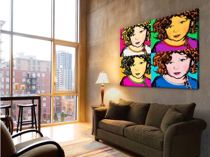 Personalized Pop Art Photo   Warhol style 4 panels