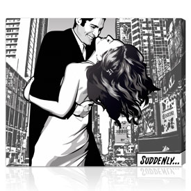 Comic style holiday gift for couples 26x32 inches on rolled paper