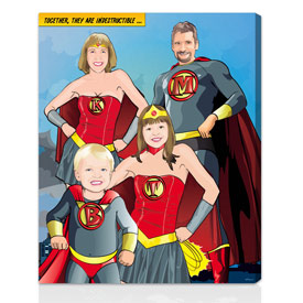 Comic book family holiday gift 16x20 inches on stretched canvas