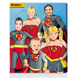 Family comic book artwork gift 26x32 inches on stretched